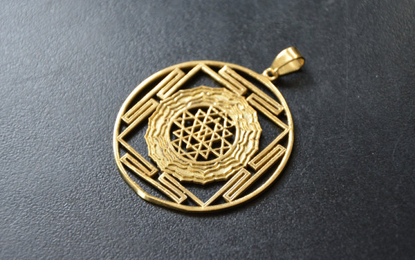 SRI YANTRA Brass Pendant - Mandala Pendant, Tribal Necklace, Sacred Geometry, Flower of Life Necklace, Buddha Necklace, Tribal Jewellery