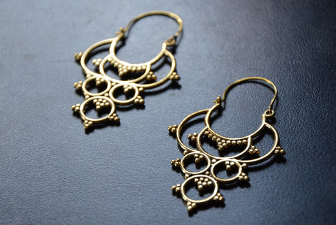 DOT TRIBAL Earrings - Tribal Jewelry, Tribal Hoops, Boho Earrings, Gypsy Earrings