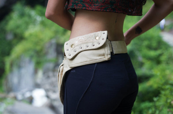 CREAM LACE Utility Belt - Festival Belt, Hippie Fanny Pack, Boho Pocket Belt, Psy Belt, Hip Bag