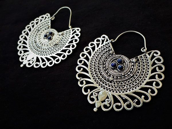 TRIBAL SILVER Earrings - Moonstone Earrings, Tribal Earrings, Brass Earrings, Gypsy Earrings, Sacred Geometry Earrings, Tribal Jewelry, Psy