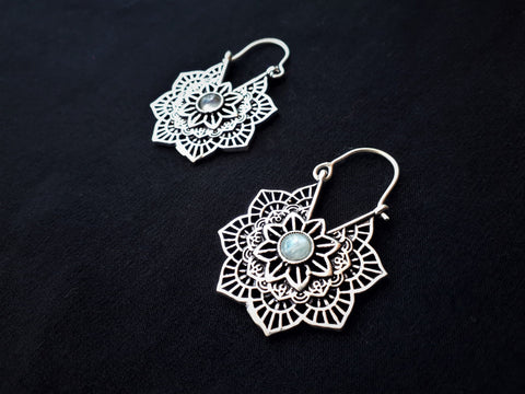 MANDALA SILVER Earrings - Sil Earrings, Gypsy Earrings, Flower Earrings, Lotus Earrings, Geometric Earrings, Tribal Earrings, Psytrance, Psy