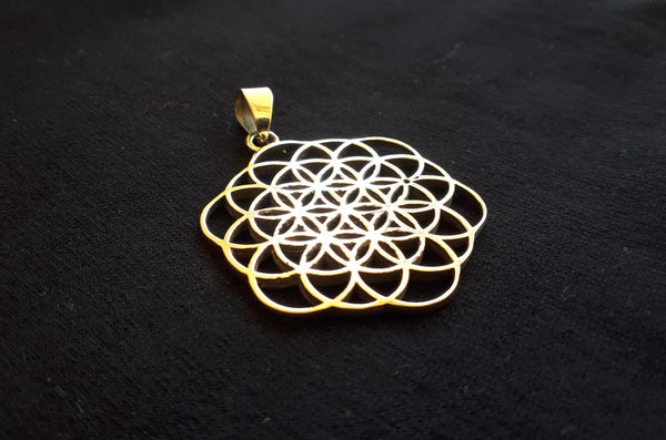 Flower of Life Brass Pendant - Tribal Necklace, Mandala Necklace, Hippie Psy Boho Gypsy, Boho Necklace, Sacred Geometry Necklace