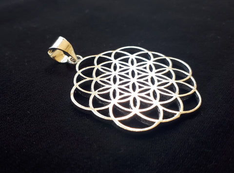 Flower of Life Silver Pendant - Tribal Necklace, Mandala Necklace, Hippie Psy Boho Gypsy, Boho Necklace, Sacred Geometry Necklace