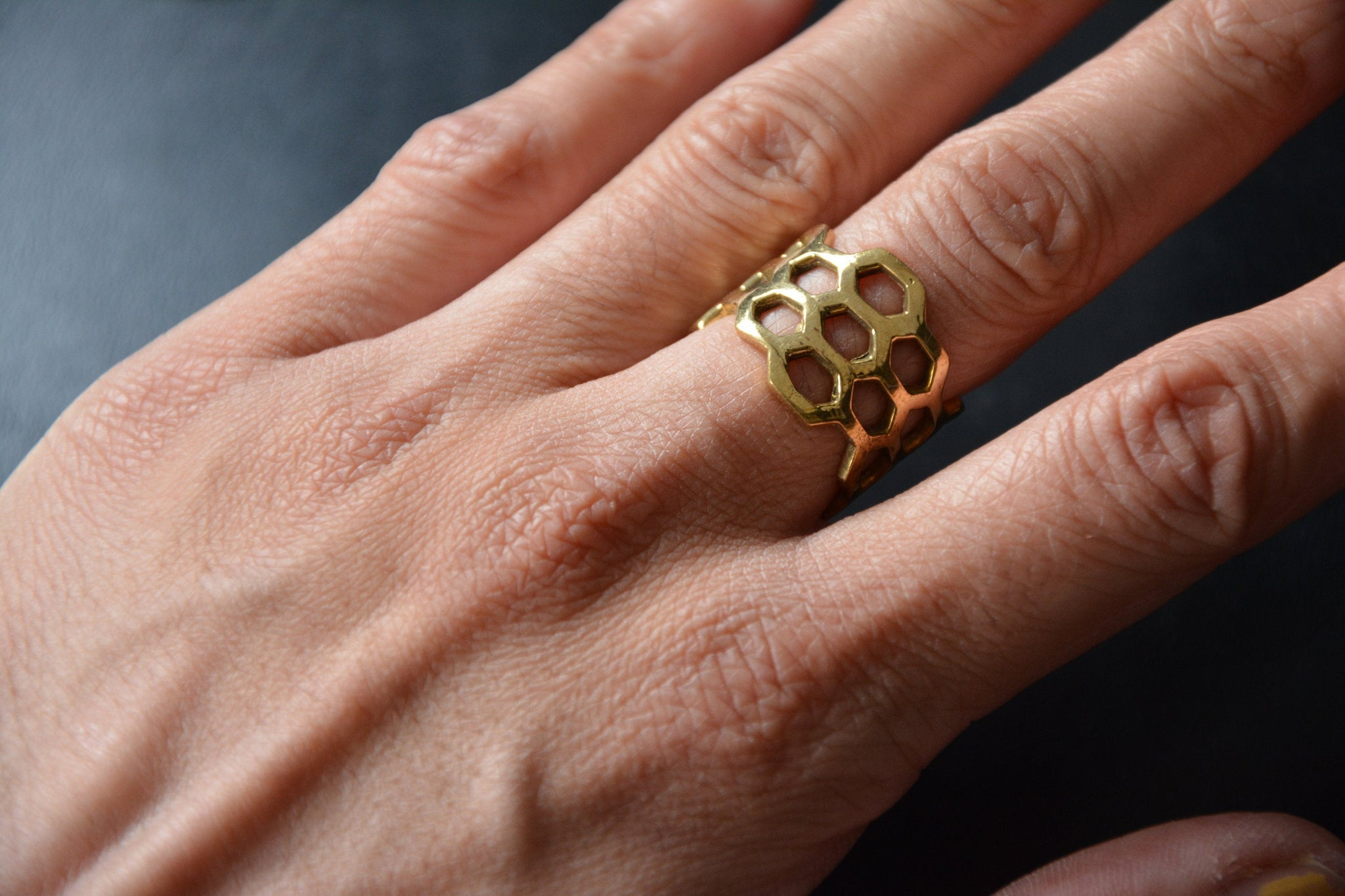 HIVE Brass Ring - Flower of Life Ring, Gemstone Ring, Tribal Ring, Geometric Ring, Adjustable Ring, Sacred Geometry, Psytrance, Psy Jewelry