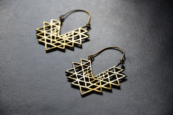 SRI YANTRA Earrings - Flower of Life, Mandala Earrings, Tribal Jewelry, Boho Earrings, Hippie Earrings, Tribal Earrings, Yoga Jewellery