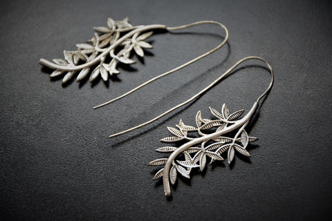 LEAF Earrings - Silver Earrings, Gypsy Earrings, Flower Earrings, Lotus Earrings, Geometric Earrings, Tribal Earrings, Psytrance, Psy