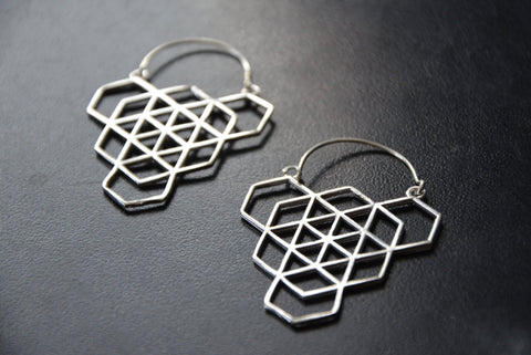 HEX Silver Earrings - Tribal Earrings, Geometric Earrings, Flower of Life, Sacred Geometry Jewelry