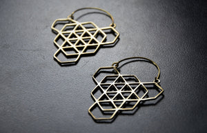 GEO HEX Brass Earrings - Tribal Earrings, Geometric Earrings, Boho, Sacred Geometry Jewelry