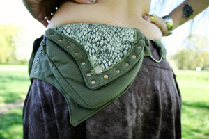 GREEN SNAKE Utility Belt - Festival Belt, Hippie Fanny Pack, Boho Pocket Belt, Hip Bag, Psytrance