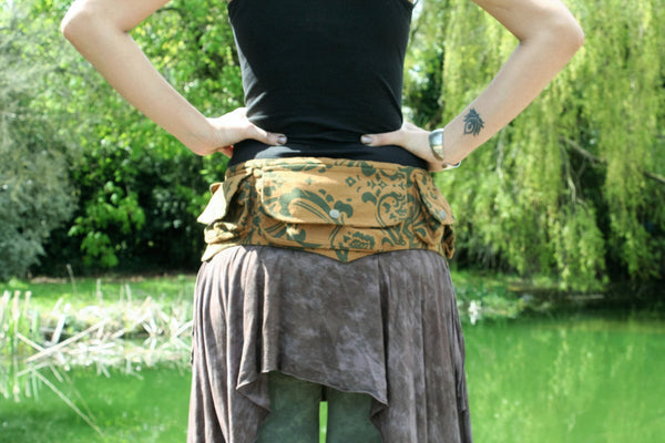 BROWN FILIGREE Utility Belt - festival belt, festival fanny pack, boho pocket belt, psy belt, hippie hip bag, travel belt, psytrance belt