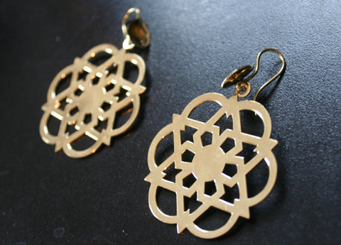GEOMETRIC Brass Earrings - Flower of Life Earrings, Mandala Earrings, Psy, Tribal Earrings, Boho Earrings, Bohemian, Sacred Geometry