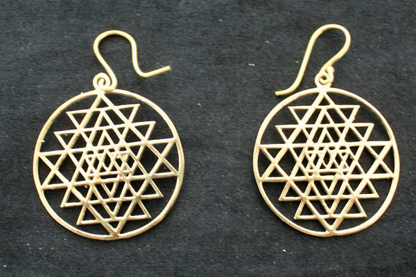 SRI YANTRA Brass Earrings - Mandala Earrings, Boho Earrings, Tribal Earrings, Psy, Hippie Earrings, Bohemian, Geometric, Sacred Geometry