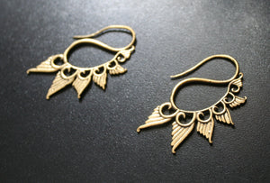 ANGEL WING Brass Earrings - Tribal Earrings, Boho Earrings, Spiral Earrings, Sacred Geometry