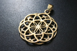 SEED OF LIFE Brass Pendant - Necklace, Tribal Necklace, Flower of Life Necklace, Tribal Necklace, Boho Sacred Geometry Necklace, Gypsy