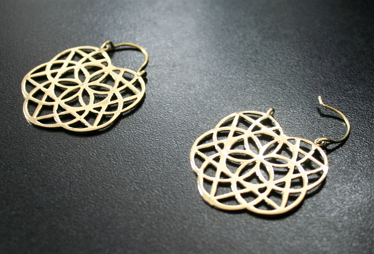SEED OF LIFE Brass Earrings - Mandala Earrings, Psy, Boho Earrings, Tribal Brass Earrings, Gypsy Bohemian Earrings, Sacred Geometry Earrings