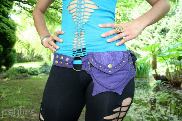 PURPLE LACE Utility Belt - Festival Belt, Pocket Belt, Psy Belt, Hippie Hip Bag, Psytrance Belt