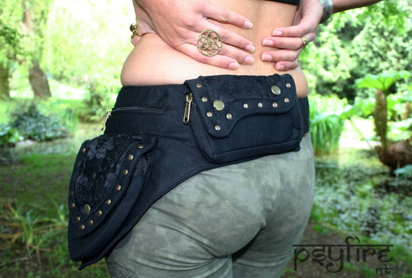 BLACK LACE Utility Belt - Festival Clothing, Pocket Belt, Psy Belt, Hippie Hip Bag, Psytrance