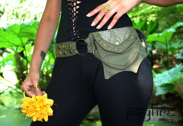 GREEN LACE Utility Belt - Festival Belt, Hippie Fanny Pack, Boho Pocket Belt, Hip Bag, Psytrance
