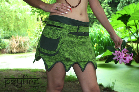 GREEN Pixie Skirt - Pocket Belt, Festival Skirt, Boho Mini Skirt, Psytrance Skirt, Hip Bag Skirt, Mini Skirt, Psy Clothing, Gypsy Skirt