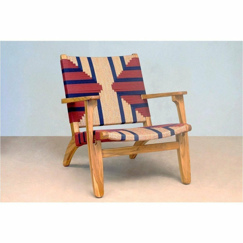 Masaya Arm Chair, Pattern Manila/Teak-Accent & Lounge Chairs-Masaya & Co.-Granito Red Stripe Manila-Heaven's Gate Home