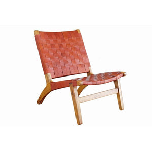 Masaya Lounge Chair, Leather/Teak-Accent & Lounge Chairs-Masaya & Co.-Saddle Leather-Heaven's Gate Home