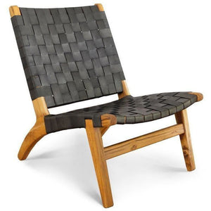 Masaya Lounge Chair, Leather/Teak-Accent & Lounge Chairs-Masaya & Co.-Black Leather-Heaven's Gate Home