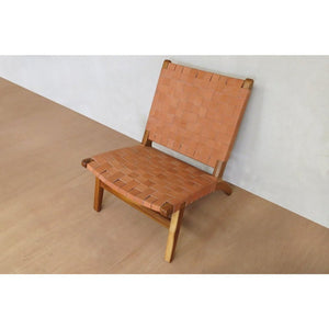 Masaya Lounge Chair, Leather/Teak-Accent & Lounge Chairs-Masaya & Co.-Barley Leather-Heaven's Gate Home