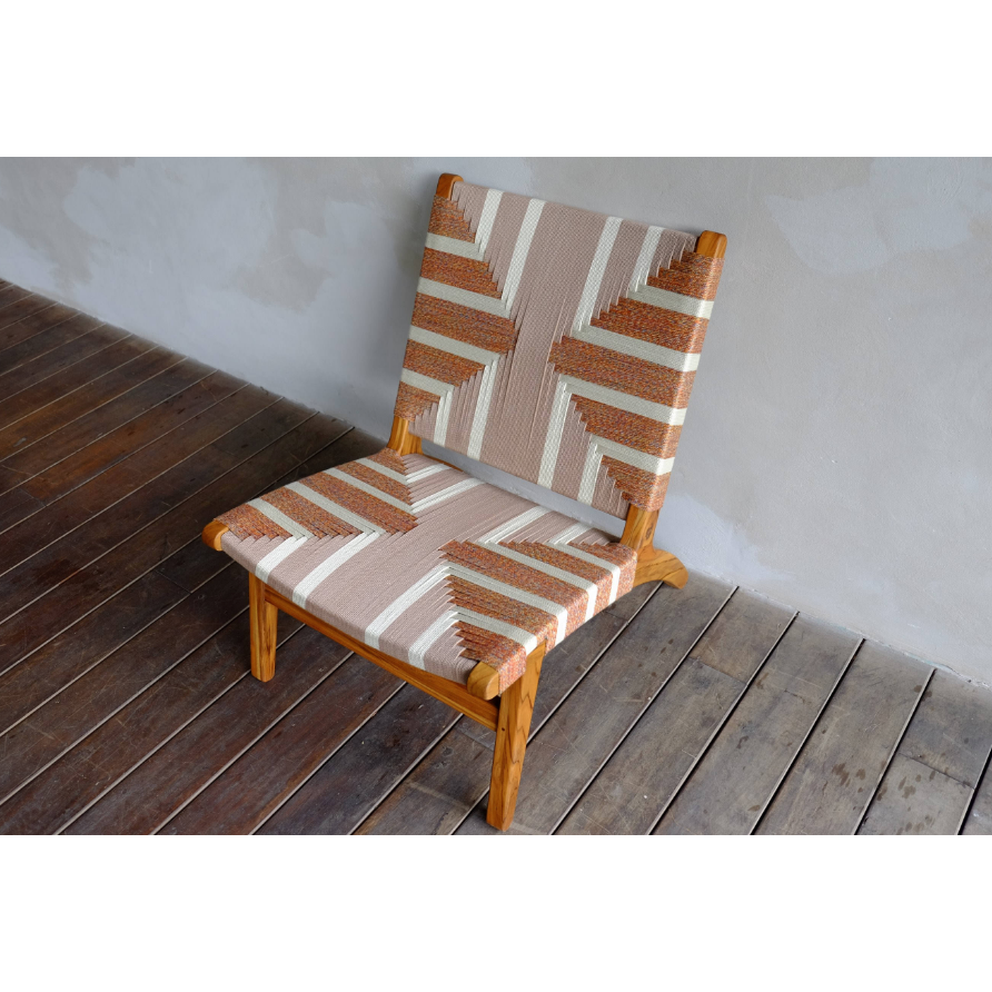 Masaya Lounge Chair, Pattern Manila-Accent & Lounge Chairs-Masaya & Co.-Reynaga Manila-Teak-Heaven's Gate Home