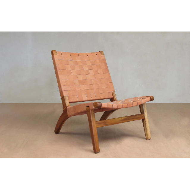 Masaya Lounge Chair, Leather/Teak-Accent & Lounge Chairs-Masaya & Co.-Natural Leather-Heaven's Gate Home