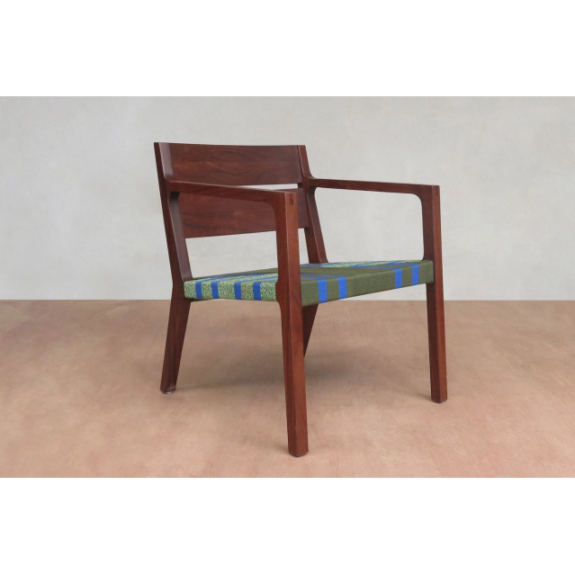 Masaya Managua Arm Chair, Pattern Manila-Accent & Lounge Chairs-Masaya & Co.-Emerald Coast Manila-Rosita Walnut-Heaven's Gate Home