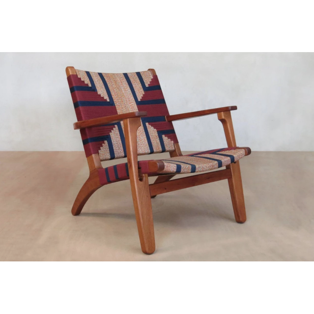 Masaya Arm Chair, Pattern Manila/Royal Mahogany-Accent & Lounge Chairs-Masaya & Co.-Momotombo Manila-Heaven's Gate Home