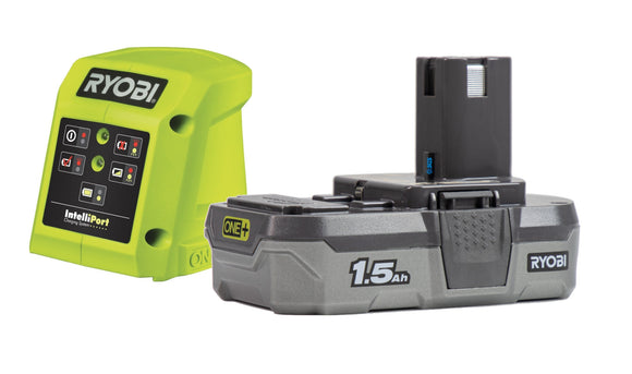 Ryobi RC18115 18V ONE+ Compact Battery Charger and 1.5 Ah ONE+ LITHIUM+ Battery