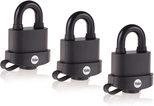 Yale Y220B/51/118/3 Black Weatherproof Padlocks with Protective Cover (51 mm) - 3 Pack