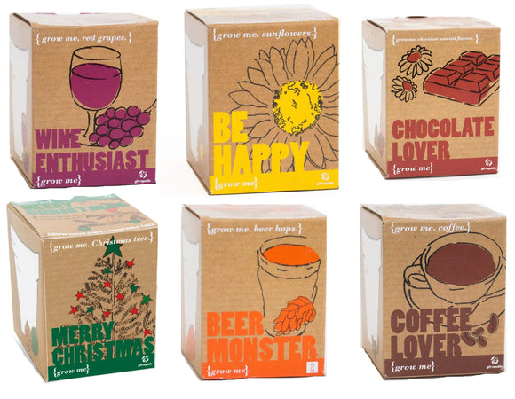 Grow Me, Grow Your Own Seed Kits Gardening Box Gift Box Set - Coffee, Wine, Chocolate and more