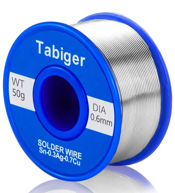 Tabiger 0.6mm Lead Free Solder Wire with Rosin Core (50g)