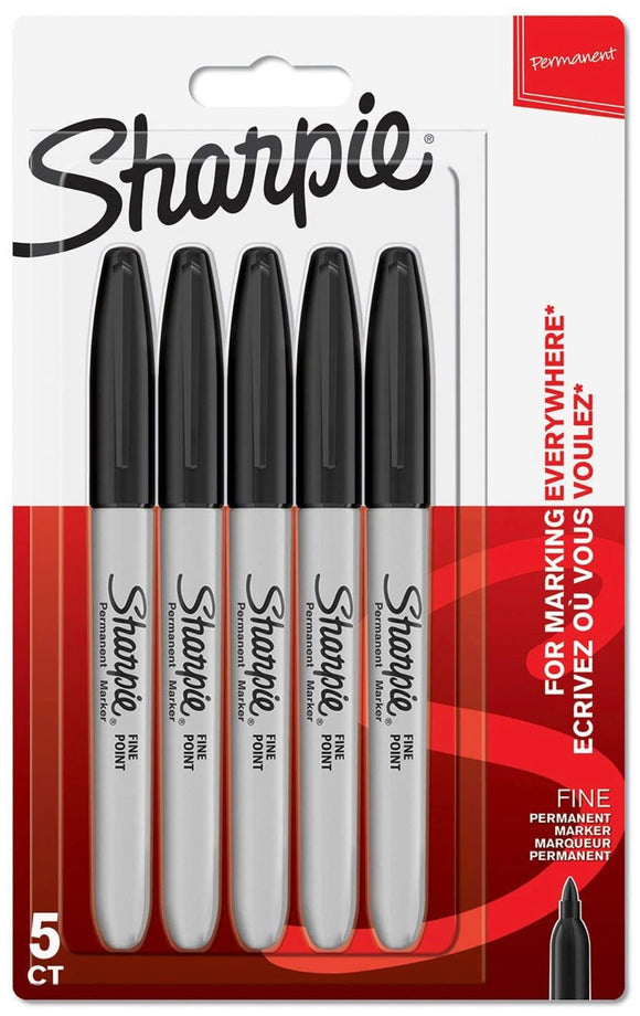Sharpie Permanent Fine Point Markers - Black 5 Pack