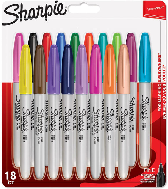 Sharpie Permanent Fine Point Markers - 18 Assorted Colour Pack