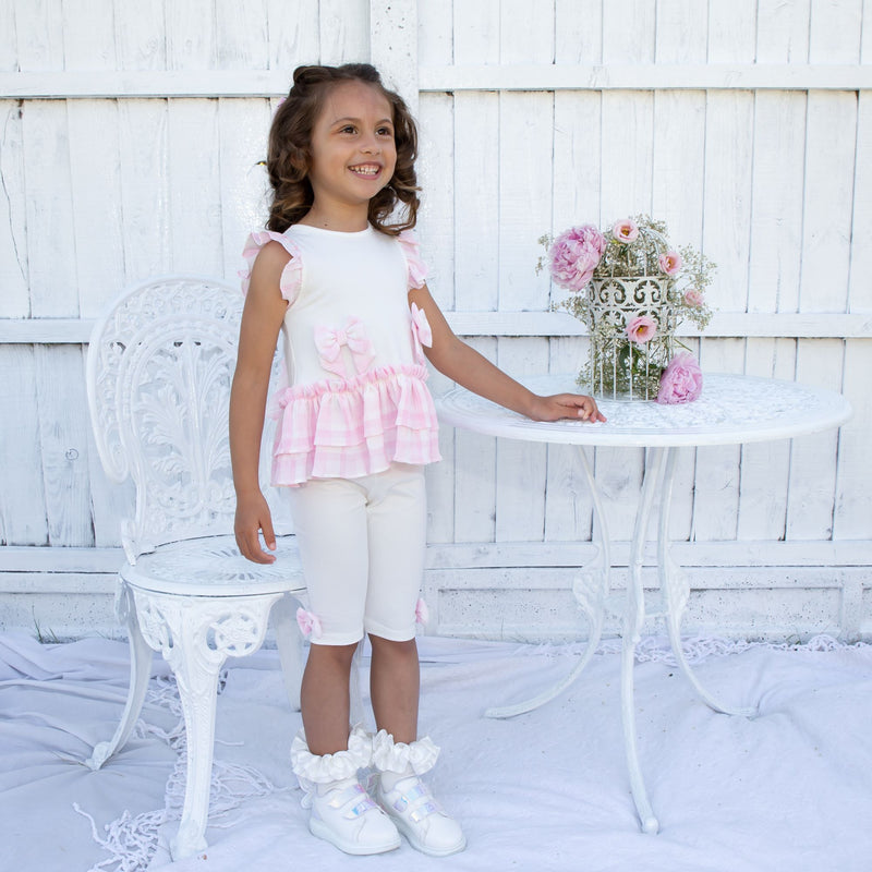 SS21 Caramelo Kids Ruffle top & legging set - pink