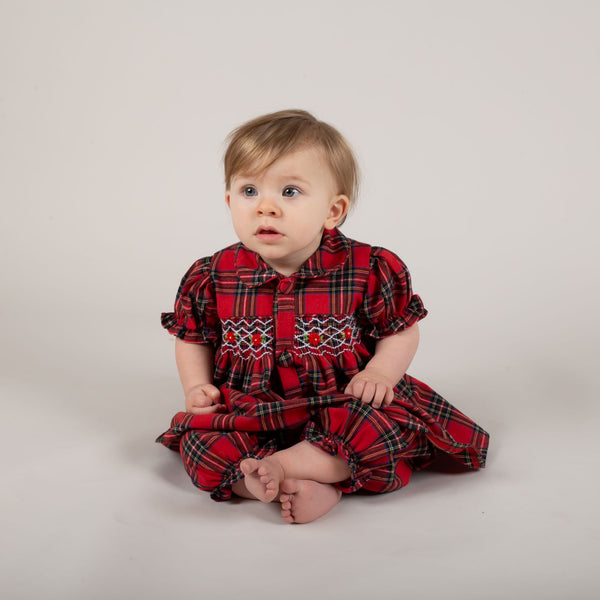 Caramelo Kids hand smocked tartan bloomer set pre order - Rose & Albert