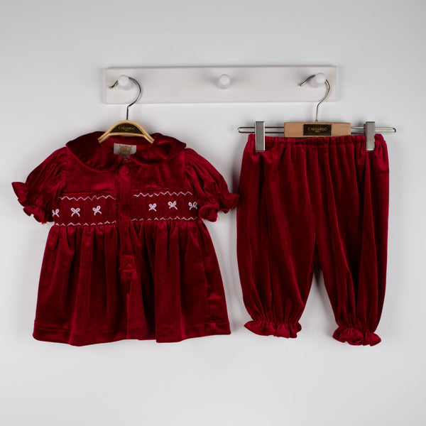 Caramelo Kids hand smocked velour bloomer set pre order - Rose & Albert