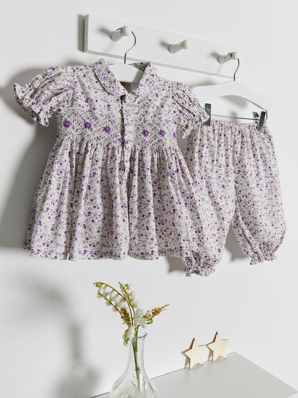 As Seen in Vogue floral hand smocked bloomer set - Rose & Albert