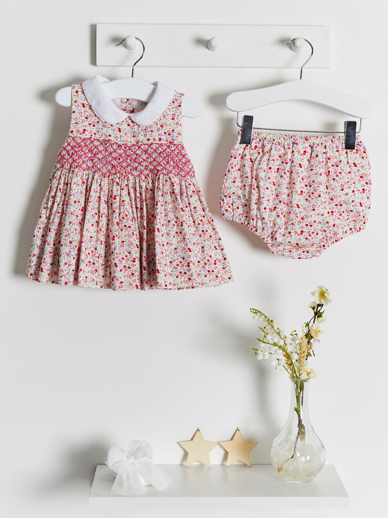 Caramelo Kids smocked peter pan dress & jam pants - Rose & Albert