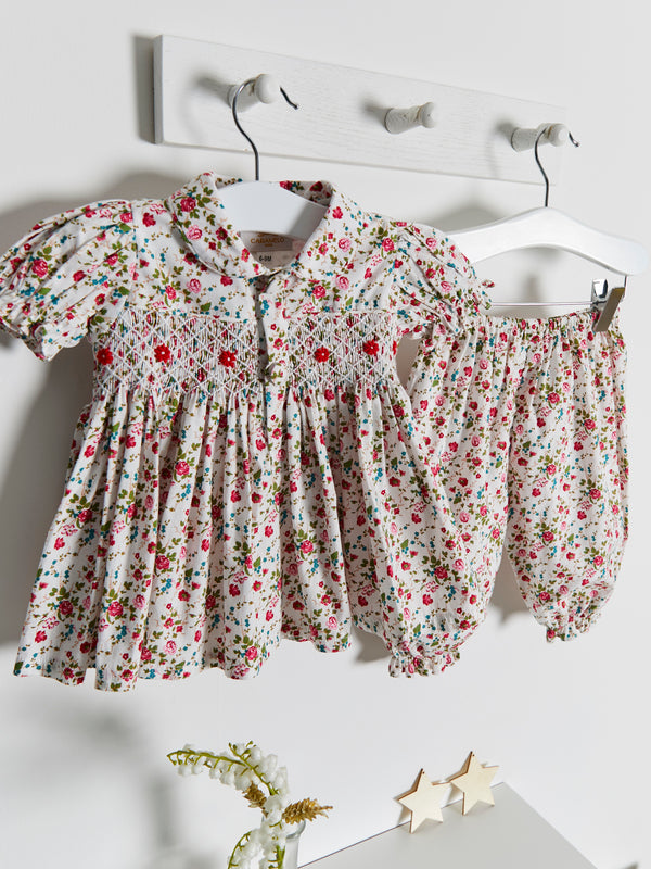PRE ORDER As Seen in Vogue floral hand smocked bloomer set