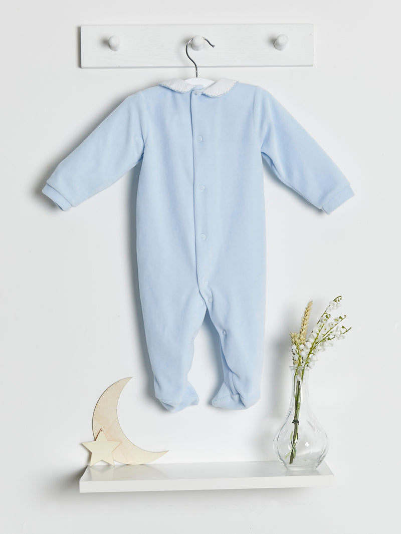 Babidu Velour Peter Pan Collar Sleepsuit - Rose & Albert