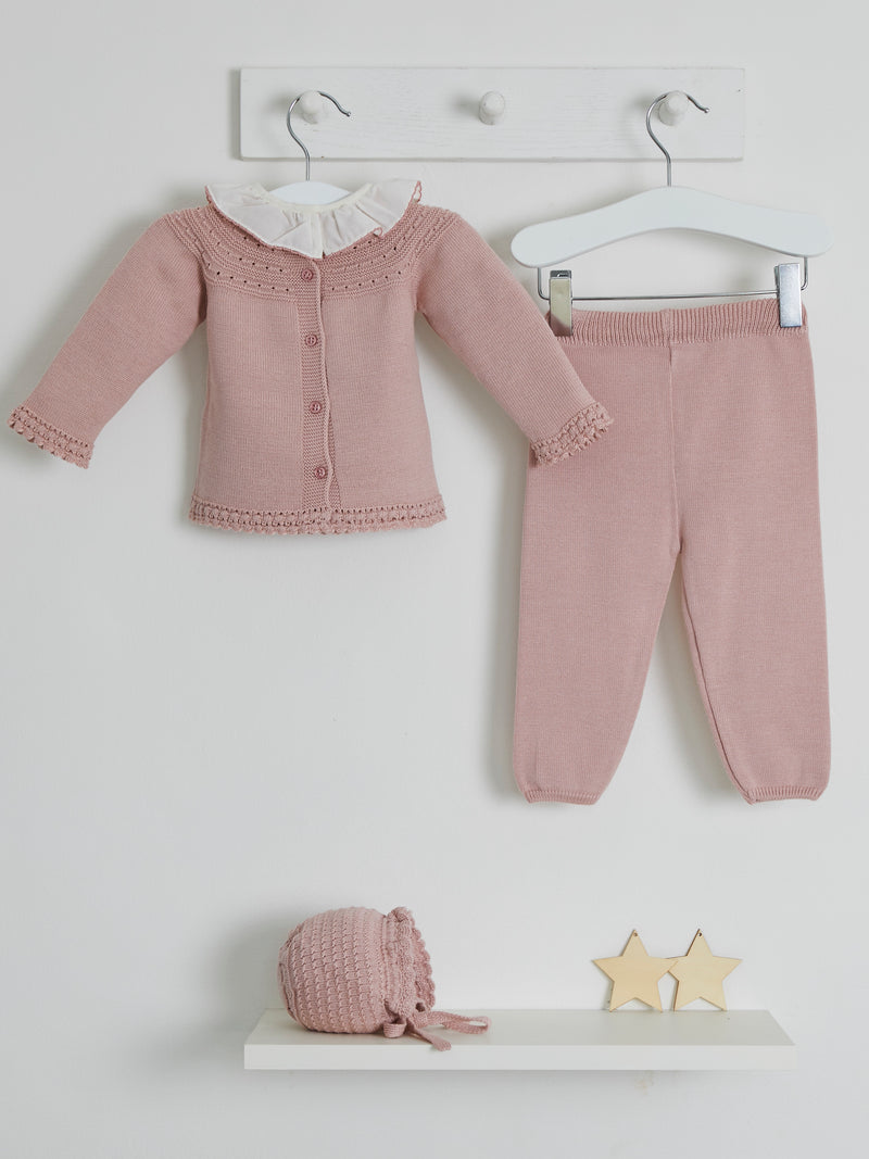 Granlei frill collar knitted top & legging set - Rose & Albert
