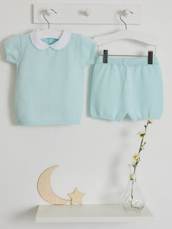 Pre Order Only Granlei Peter Pan Collar Knitted Short Set - Rose & Albert