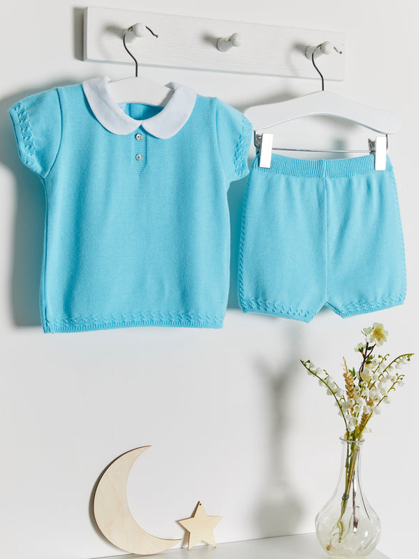 Granlei Peter Pan Collar Knitted Short Set