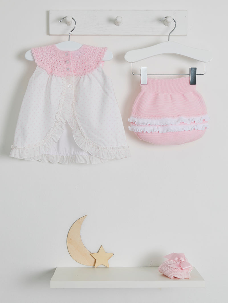 Granlei woven frill back dress & knicker set - Rose & Albert
