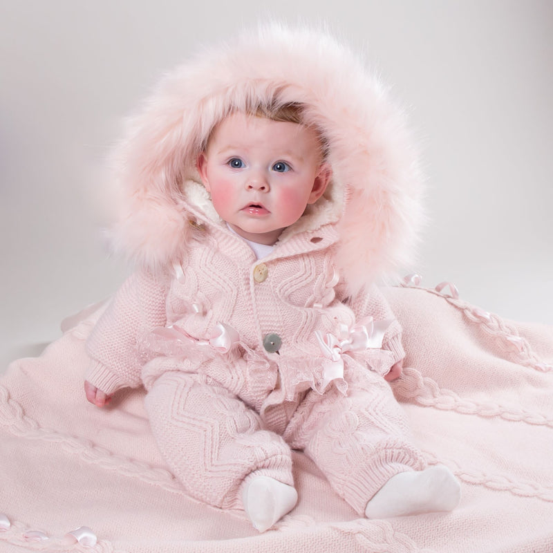 Caramelo Kids Knitted faux fur pram suit - Rose & Albert