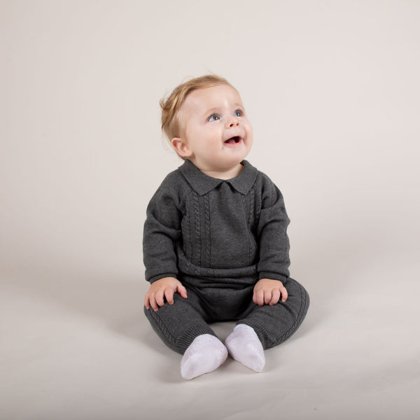 Caramelo Kids cable knit 2 piece set - Rose & Albert